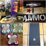 New decks from Zoo York and Ammo, as well as some Bliss wheels, and Diamond grip with some kid of leaf cut out on it.