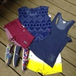 Some colorful sleeveless tops, as well as some colorful shorts, and Tom's shoes to go with them.