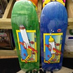 "AntiHero pays tribute to a classic Julien Stranger Santa Monica airlines graphic with these two Jeff Grosso ""flying low"" decks.  (9.25"" x  32.9"",  8.5"" x  32.18"")"