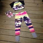 Here's a stylish and tropical lycra shirt and  pants along with the sandals  to go with them!