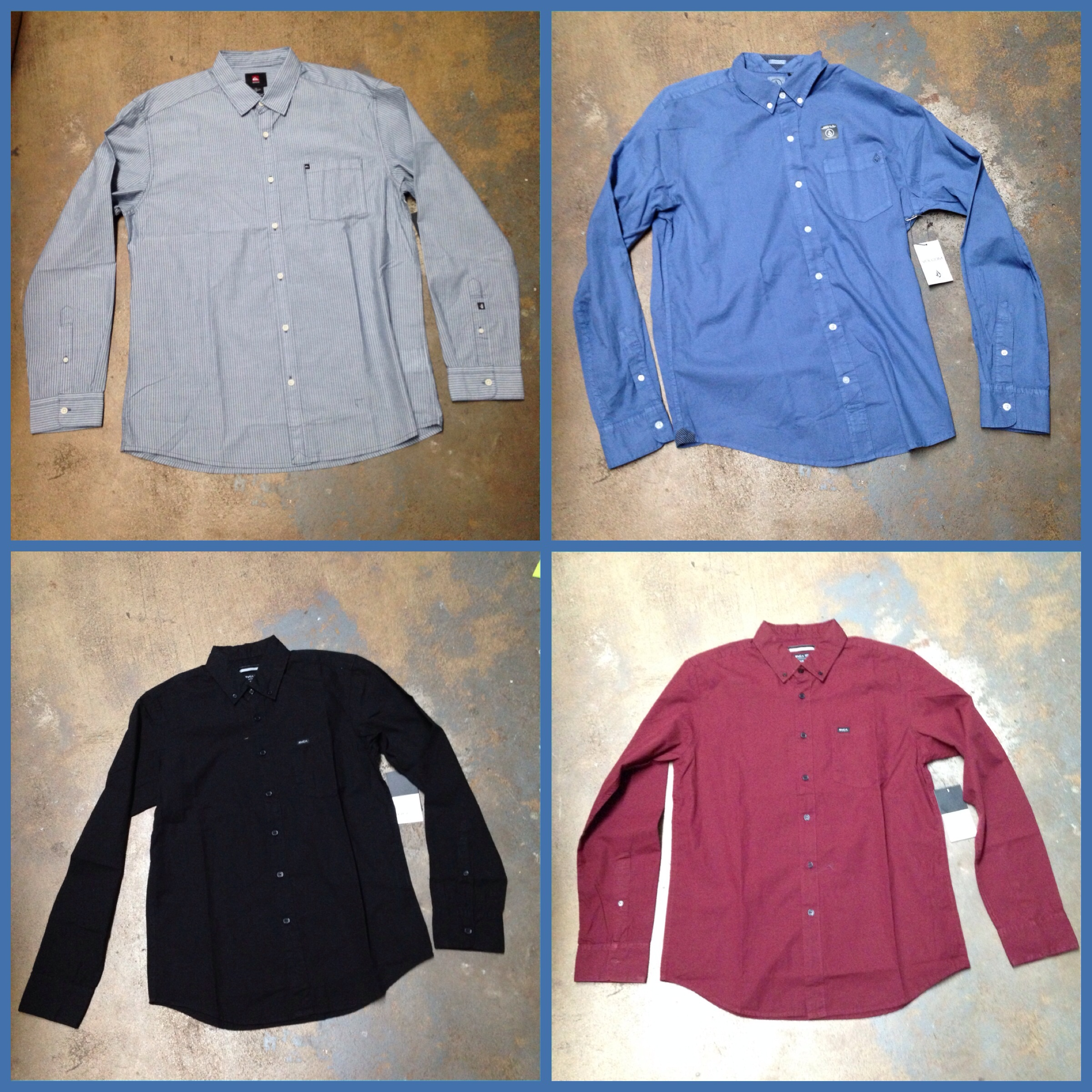 Shirts from Volcom, Quiksilver, and RVCA
