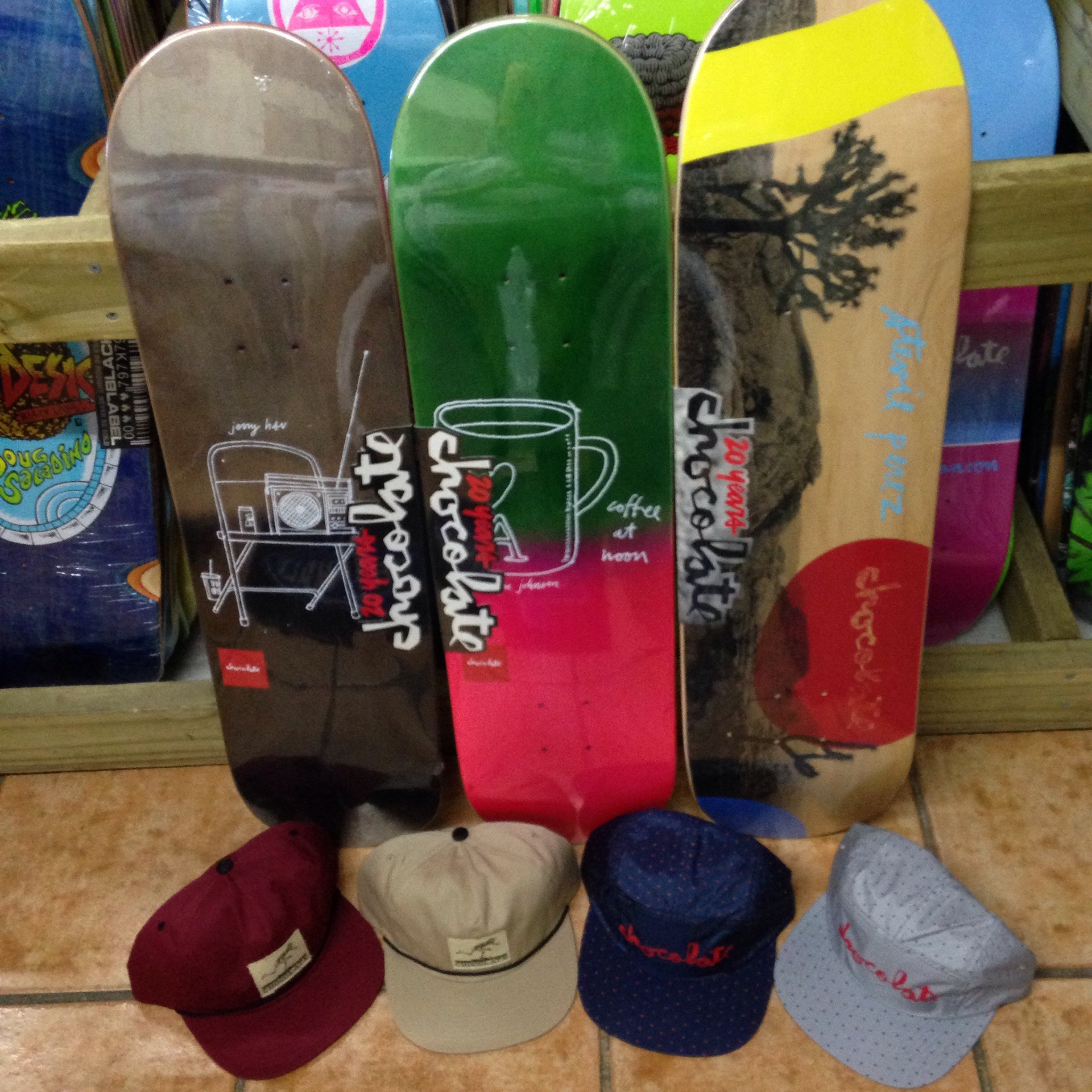 "Chocolate skateboards and hats! (8.0"" x 31.625"", 8.125"" x 31.3"", 8.25"" x 32"")"