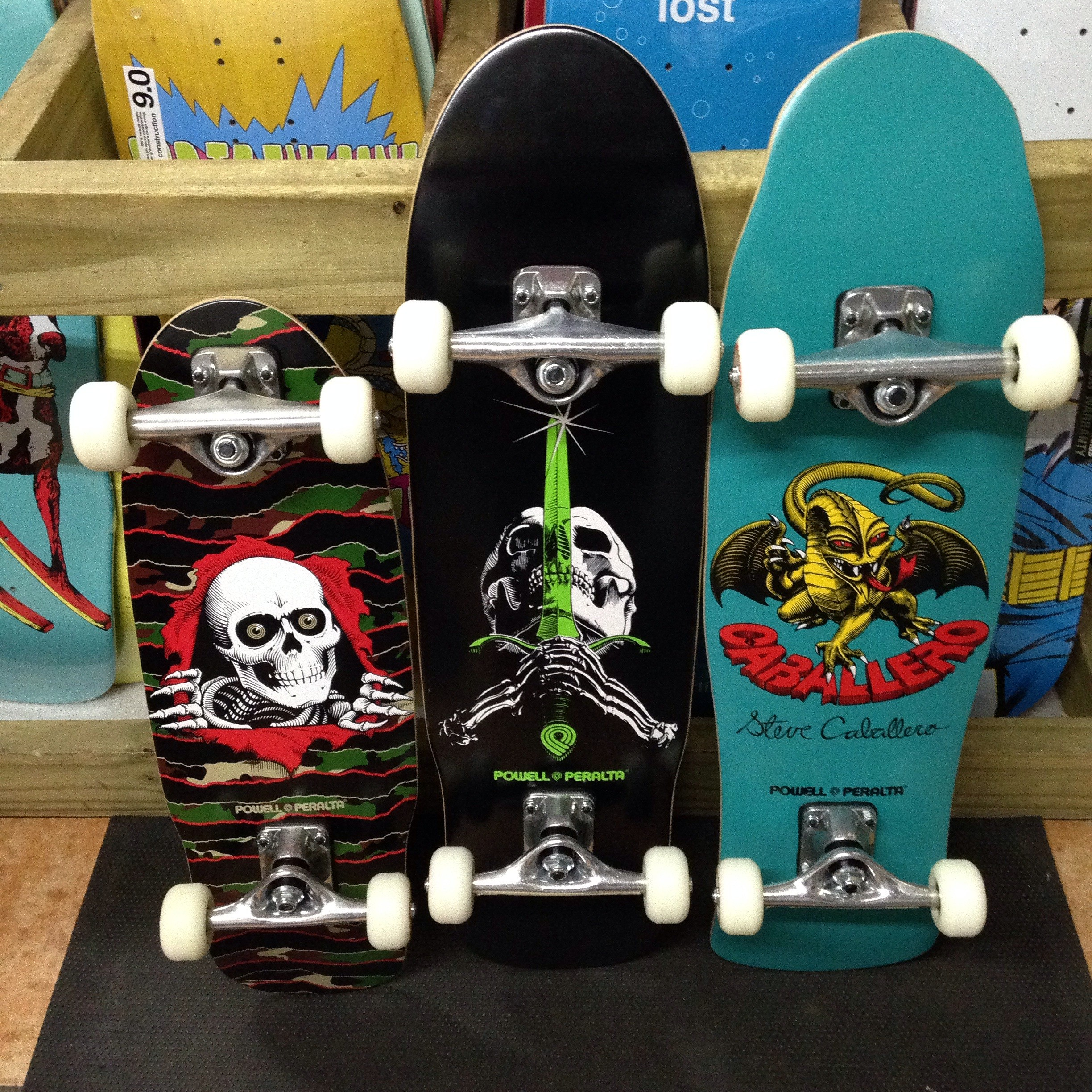 "Powell-Peralta old school mini completes (7.5"" x 24"", 8.0"" x 30"", 8.0"" x 29.5"")"