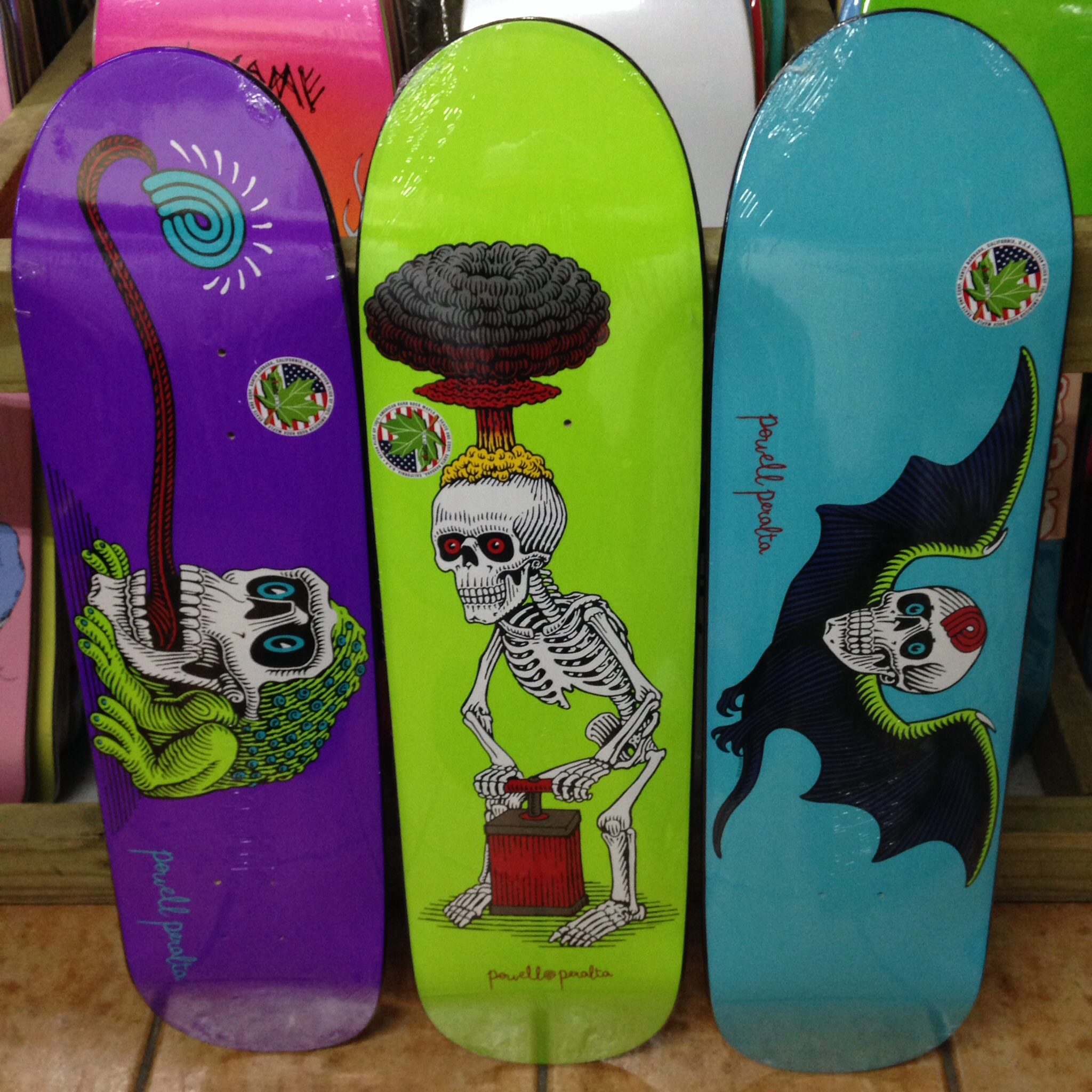 """All new Powell-Peralta Popsicle stick decks, with artwork by VCJ! Frog skull (8 x 31.25, n:6.5"""", wb:14"""", t: 6.5""""), Explode (8.38 x 31.7, n: 6.75, wb: 14.25"""", t: 6.5), bat skull (8.25 x 31.6, n: 6.75, wb: 14.25, t: 6.5)"""