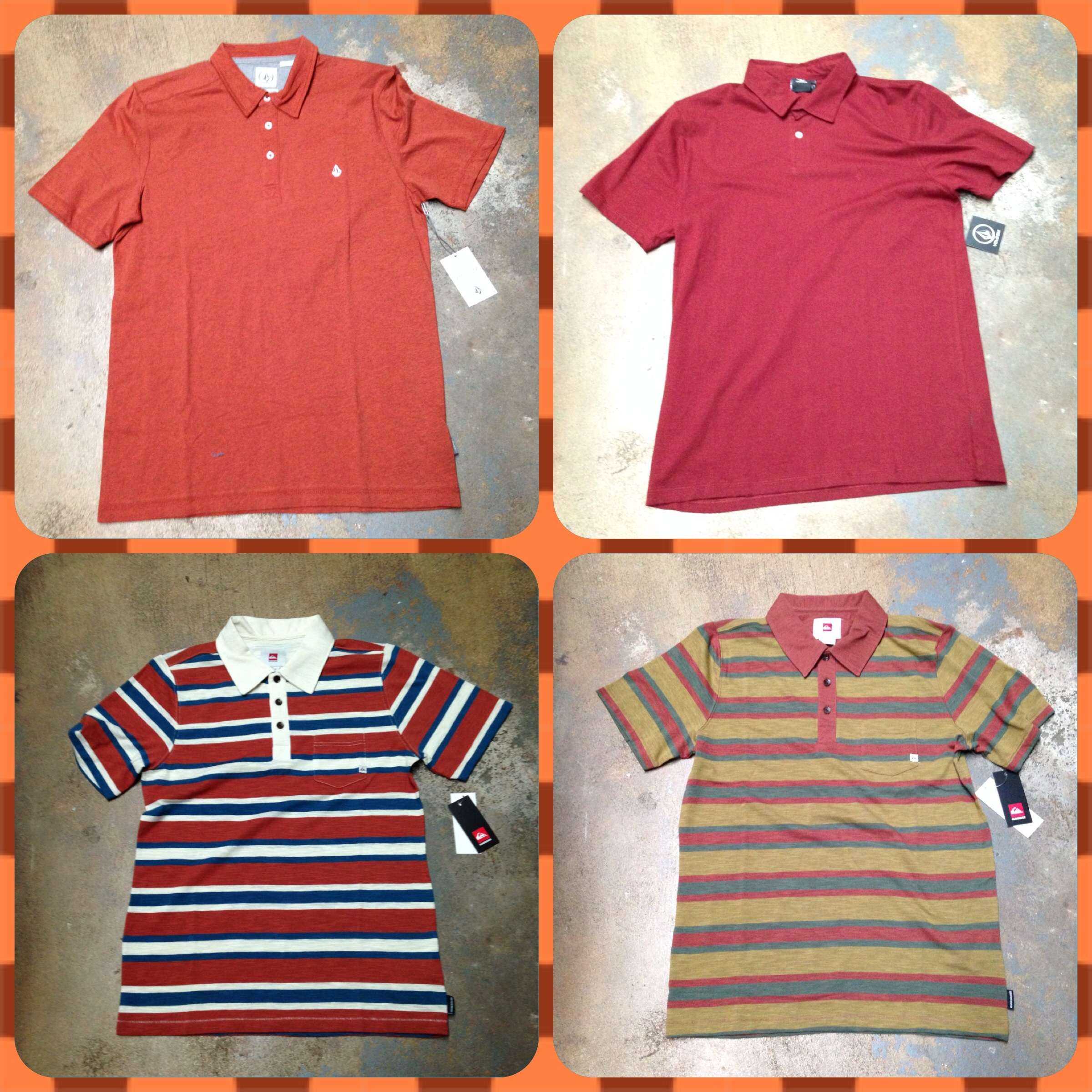 Polos from Volcom and Quiksilver