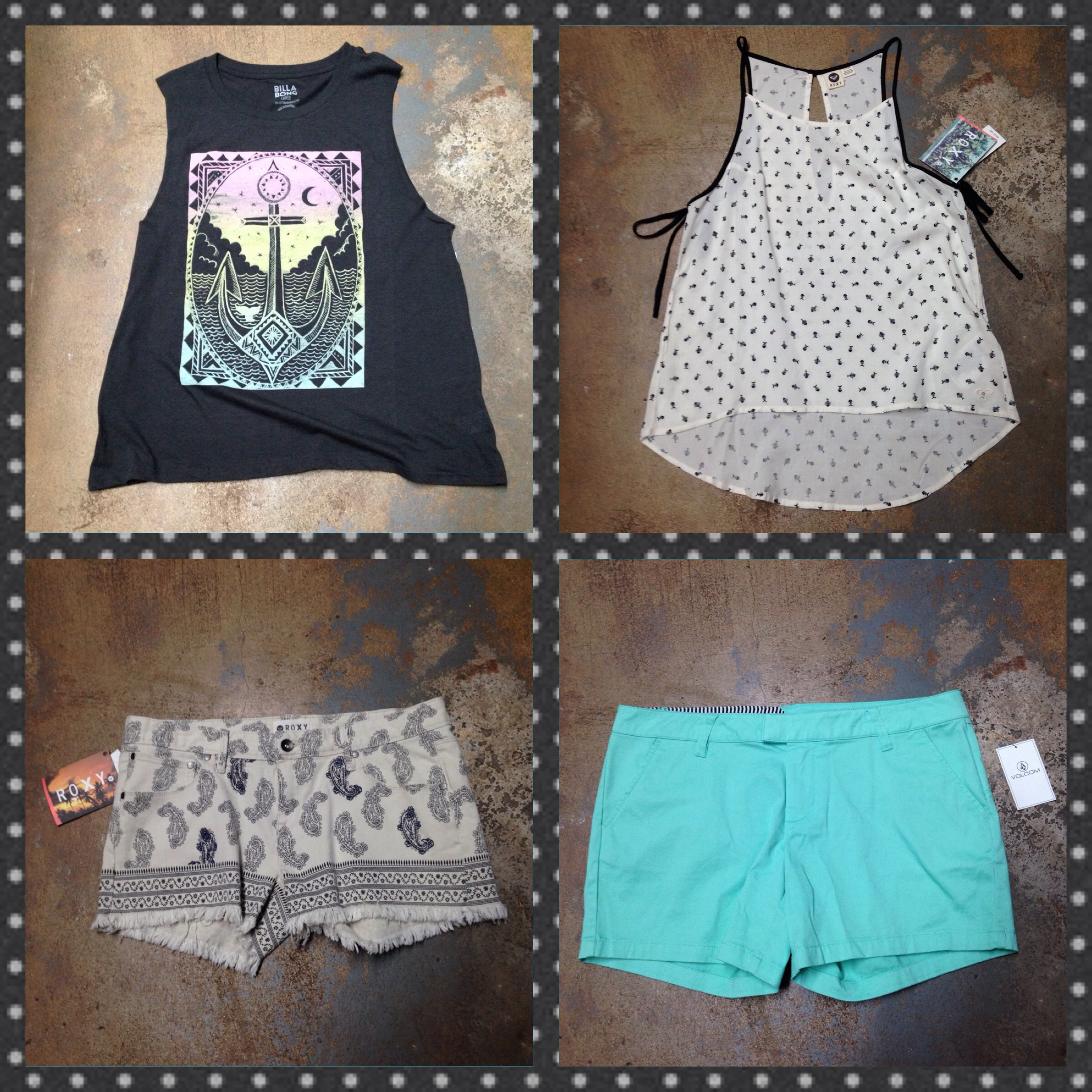 Tops and shorts from Billabong, Roxy, and Volcom!