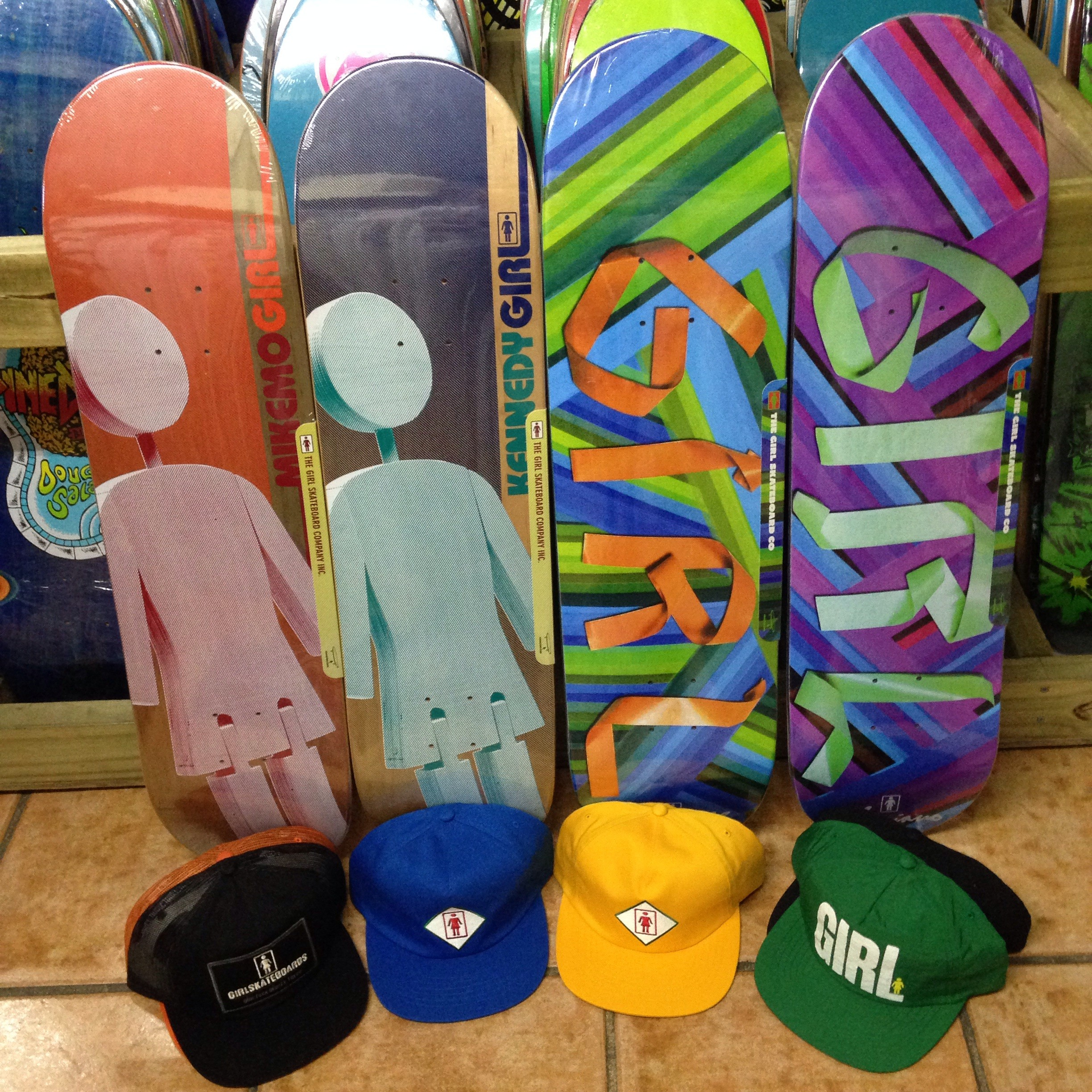 "Girl skateboards and hats! (8.0"" x 31.875"" 14.25"" wb, 8.0"" x31.5"" 14""wb, 8.25"" x 31.625"" 14"" wb, 8.0"" x 31.875"" 14.25"" wb)"