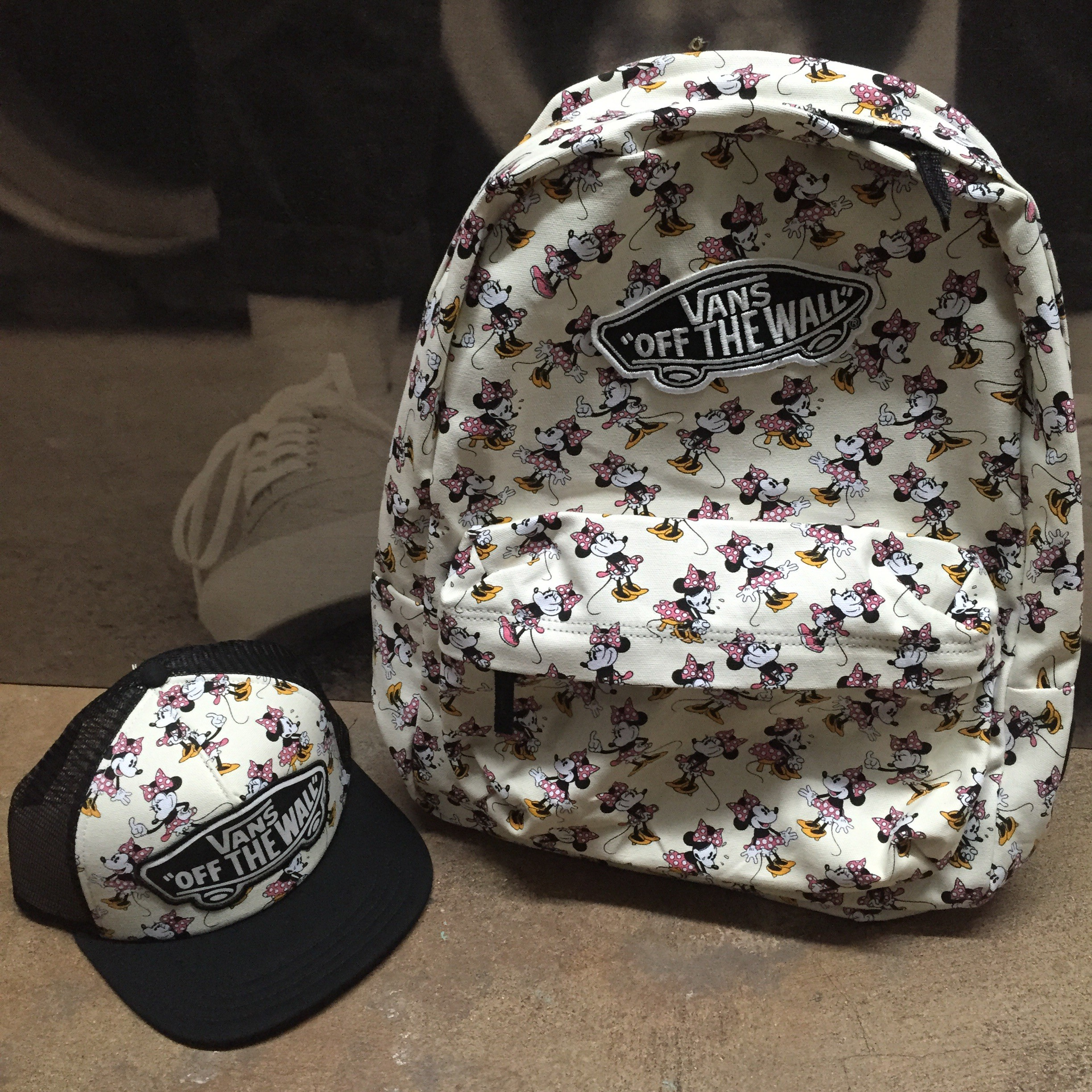 Vans Minnie Mouse backpack and hat