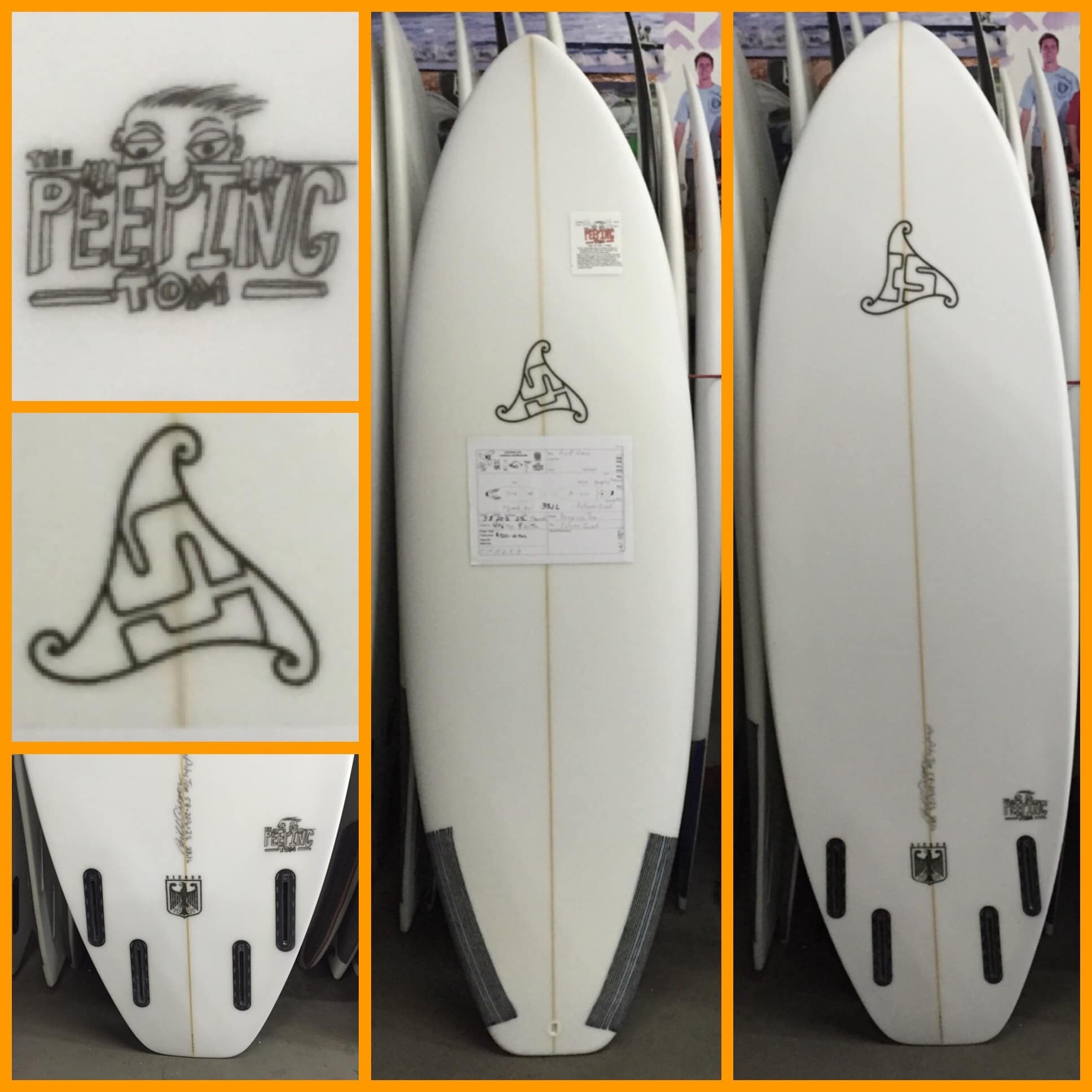 "Summer Jet Peeping Tom (5'8"" x 20 1/2"" x 2 1/2"" 33.1L) squash tail Futures Quad"