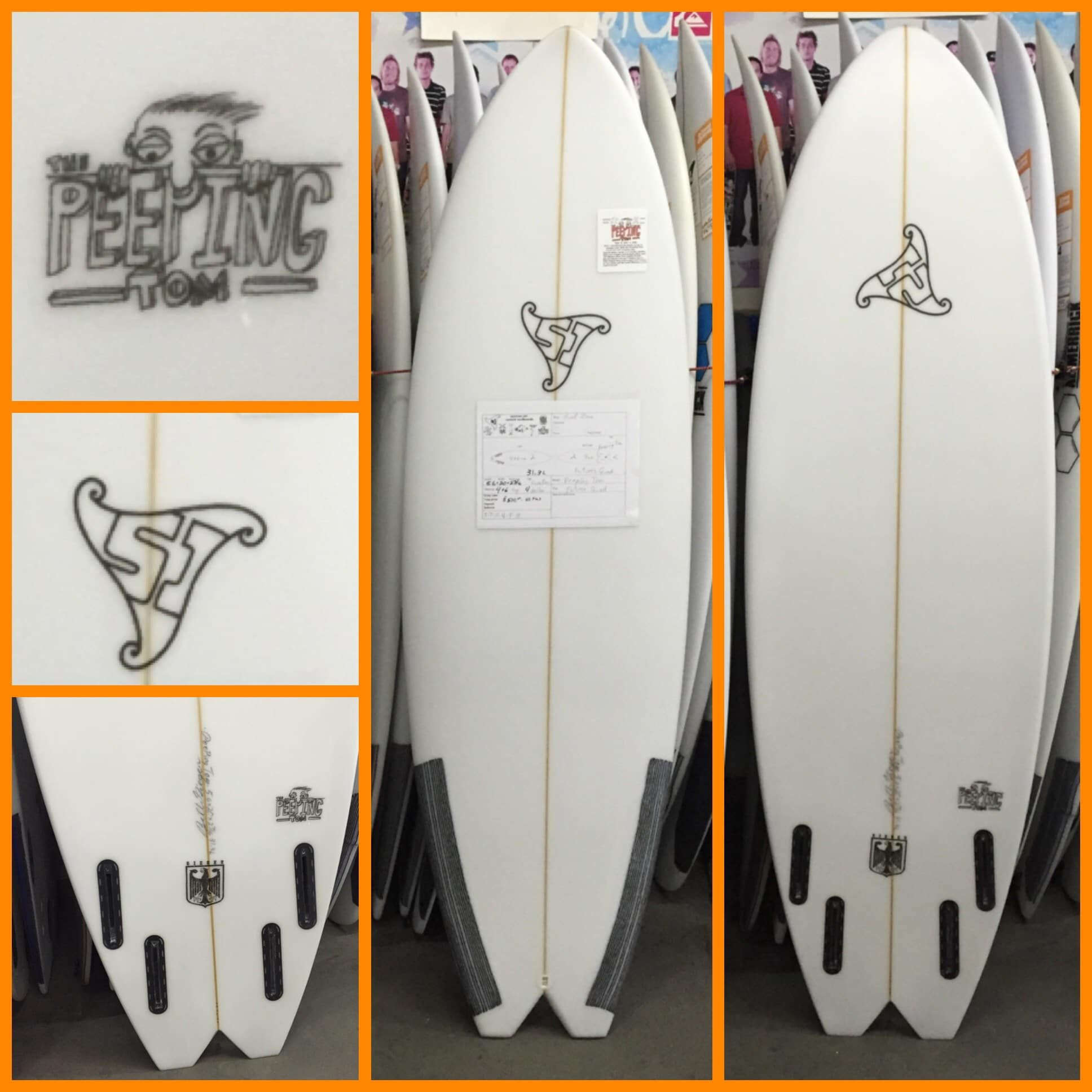 "Summer Jet Peeping Tom (5'6"" x 20"" x 2 7/16"" 31.3L) Swallo Tail Futures Quad"