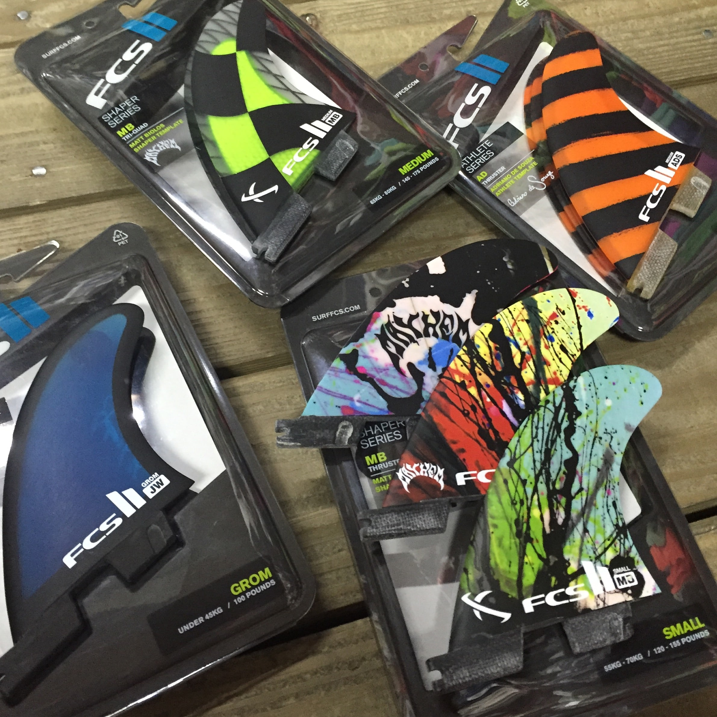 The latest arrivals in FCS II fins, including the Julian Wilson from fins, Matt Biolos in small, and medium five fin set, and the Adriano De Souza signature fin!