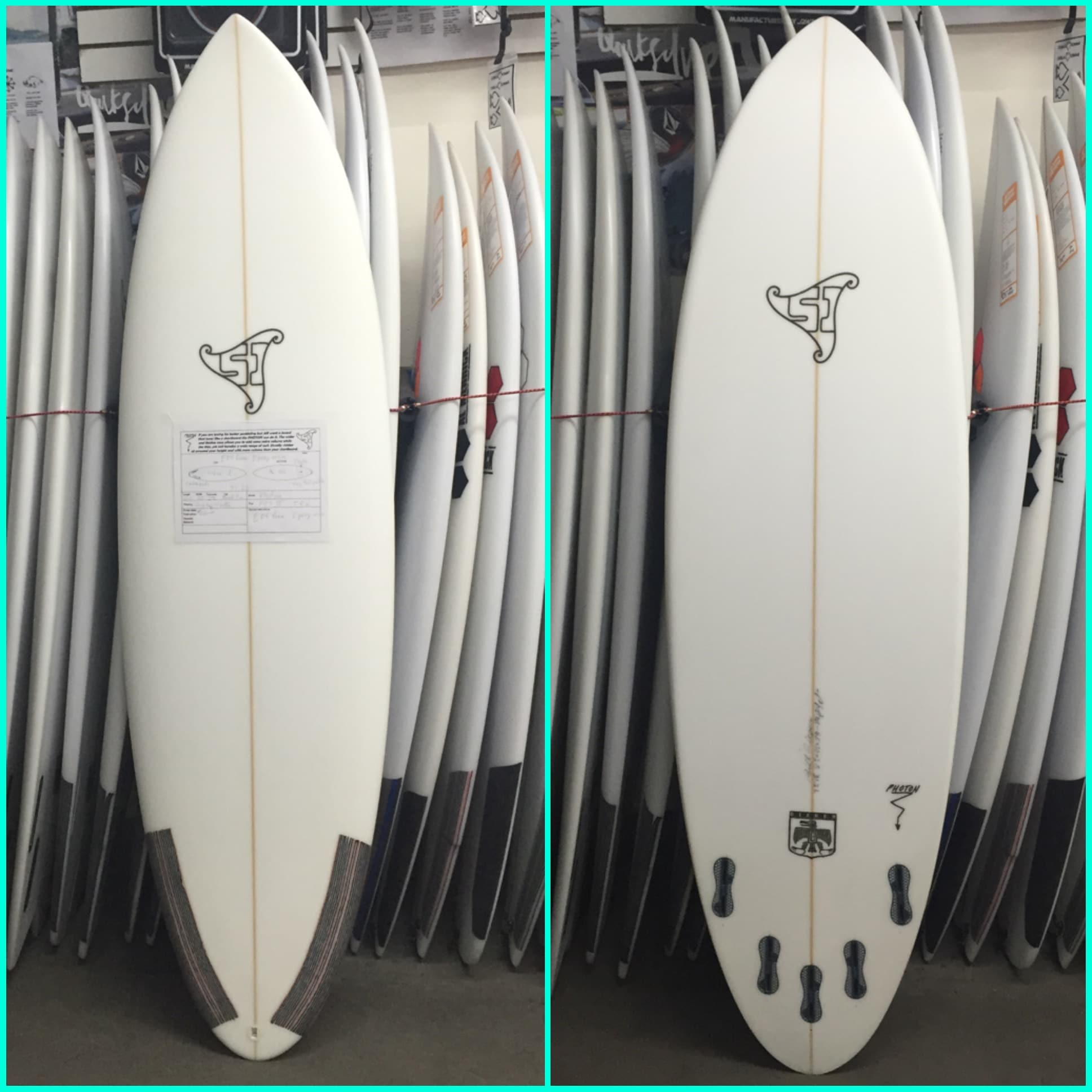 """Summer Jet surfboards are now available in epoxy with EPS foam, making for a light weight and strong board that is ideal for generating speed in small waves! The board pictured here is the Photon model and it is 6'0"""" x 20"""" x 2 1/2"""" 31.2L"""